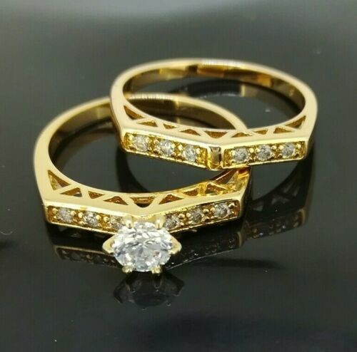 18ct Yellow Gold Filled 2 Ring sets size 8 Wedding