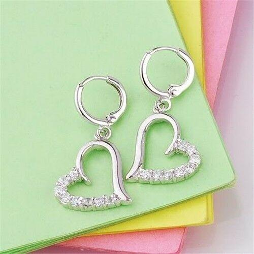 18k White Gold Filled Heart CZ Earrings