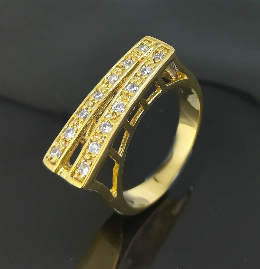 Elegant 18K Yellow Gold Filled GF CZ Wedding Ring Size 7