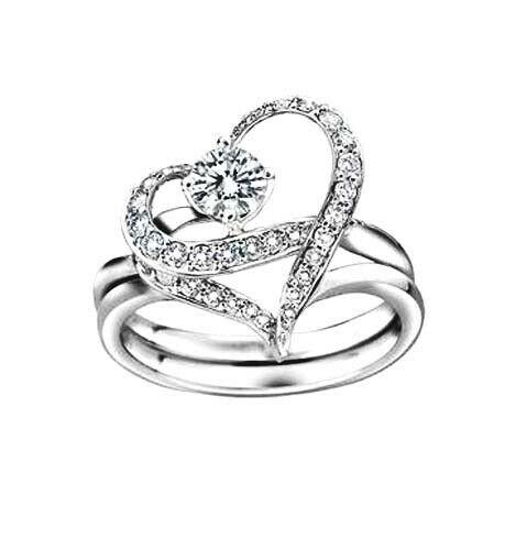 Elegant 18ct White Gold Filled GF Crystal 2 Rings Set Woman Size 8