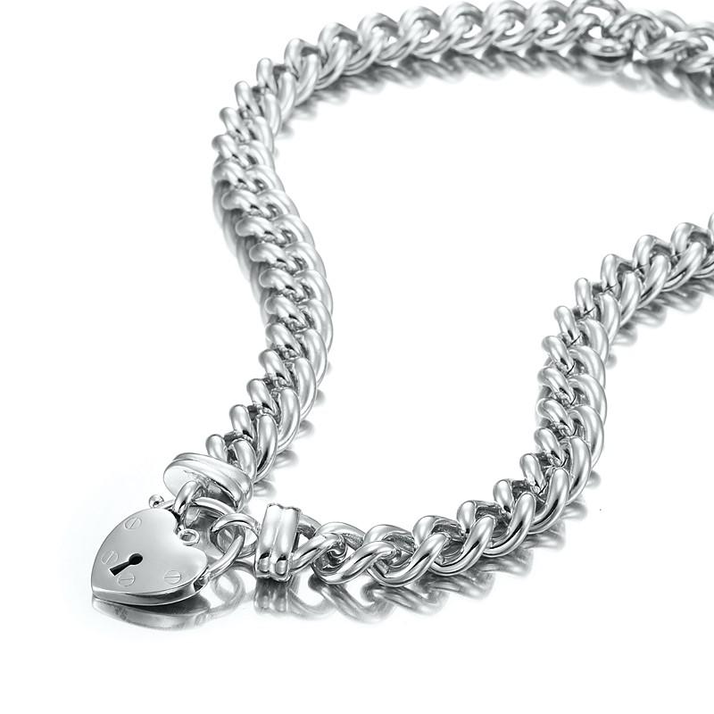 Rhodium Layered Euro Chain Necklace Featuring a Plain Locket