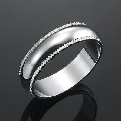 18ct Rhodium Layered Men's Etched Band Ring (6mm) - US Size 10