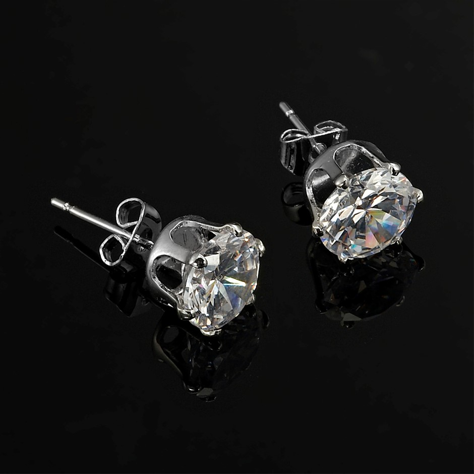 Solid 925 Sterling Silver 3mm Stud Earrings Feat. 2 Crystals by Swarovski®