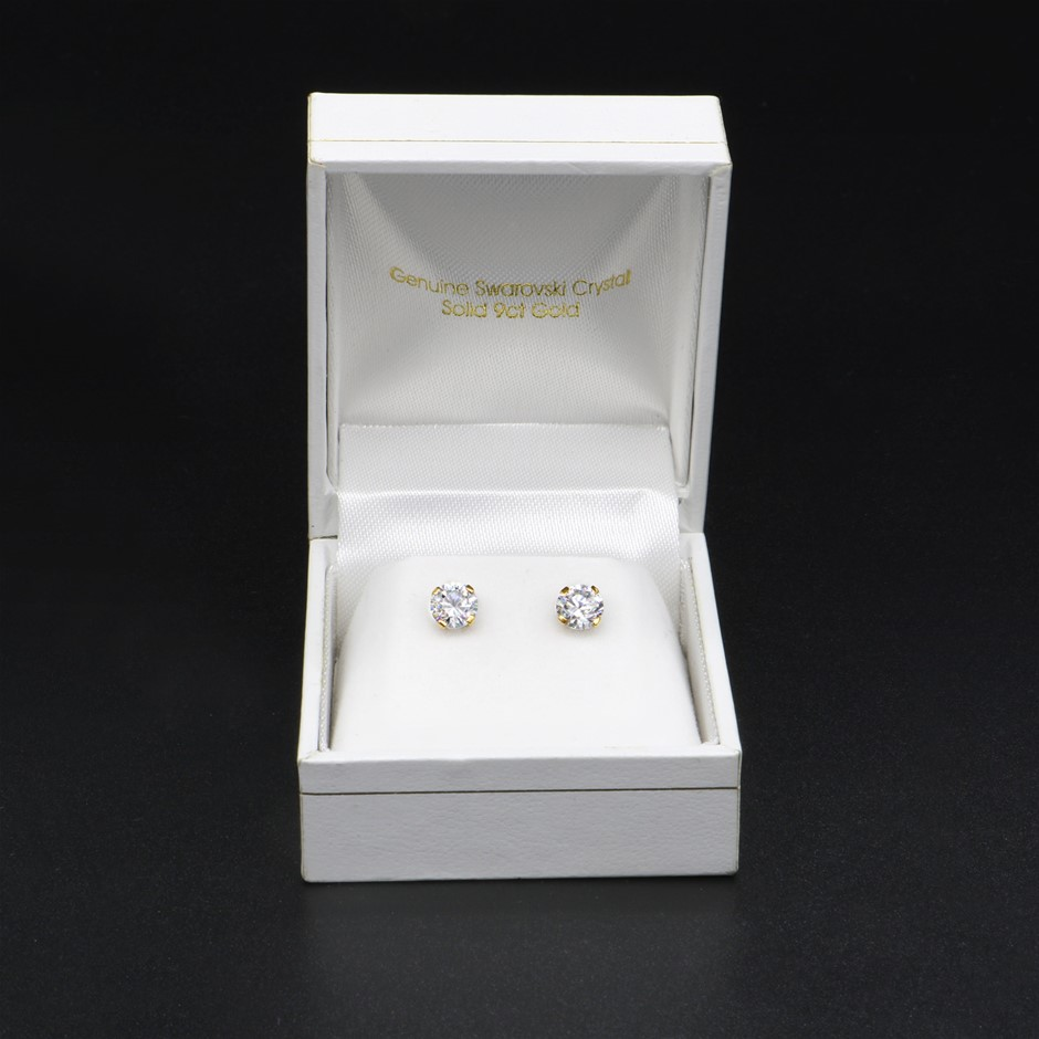 Solid 9ct Yellow Gold Solitaire Earrings