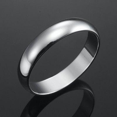 18ct Rhodium Layered Men's Band Ring (5mm) - US Size 11