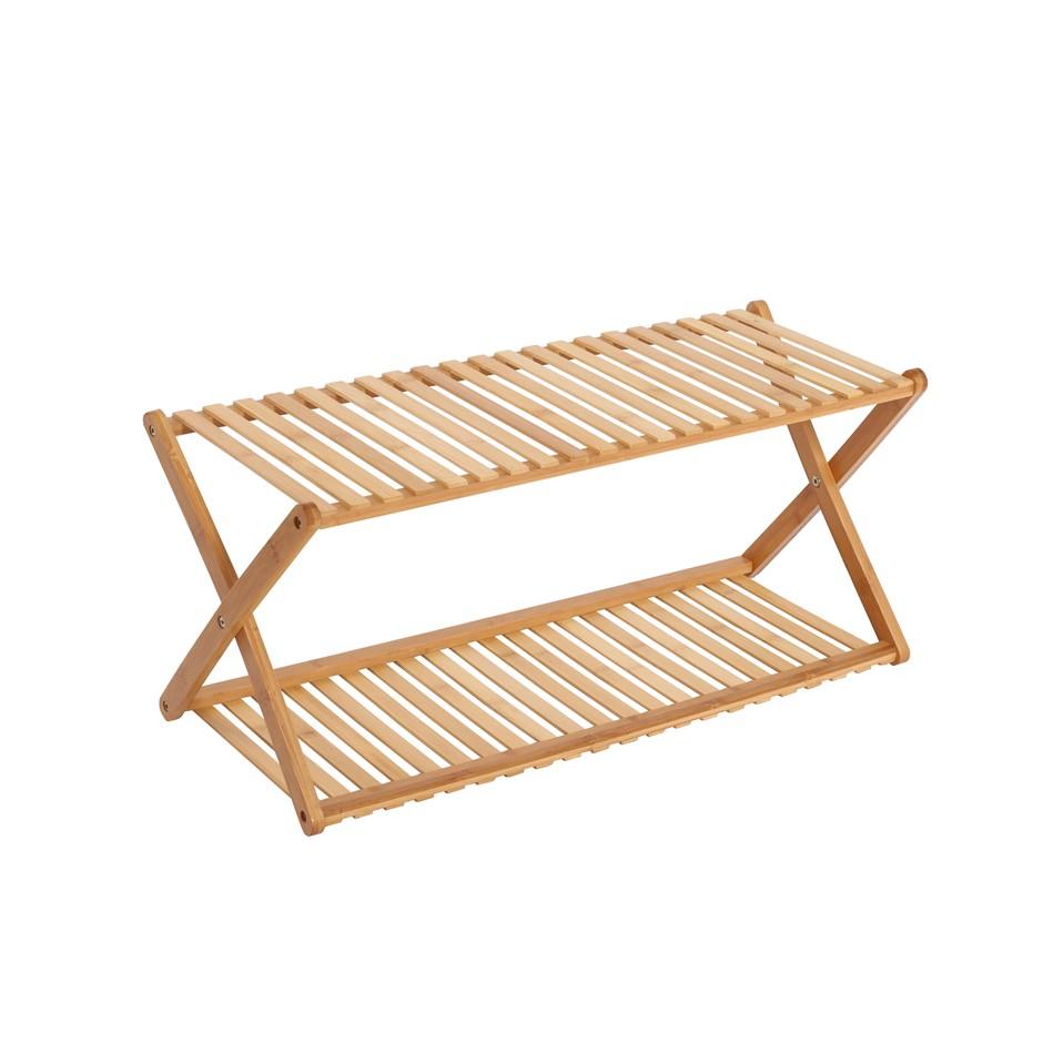 Sherwood Home 2-Tier Portable Natural Bamboo Shoe Rack 70x27.5x32cm
