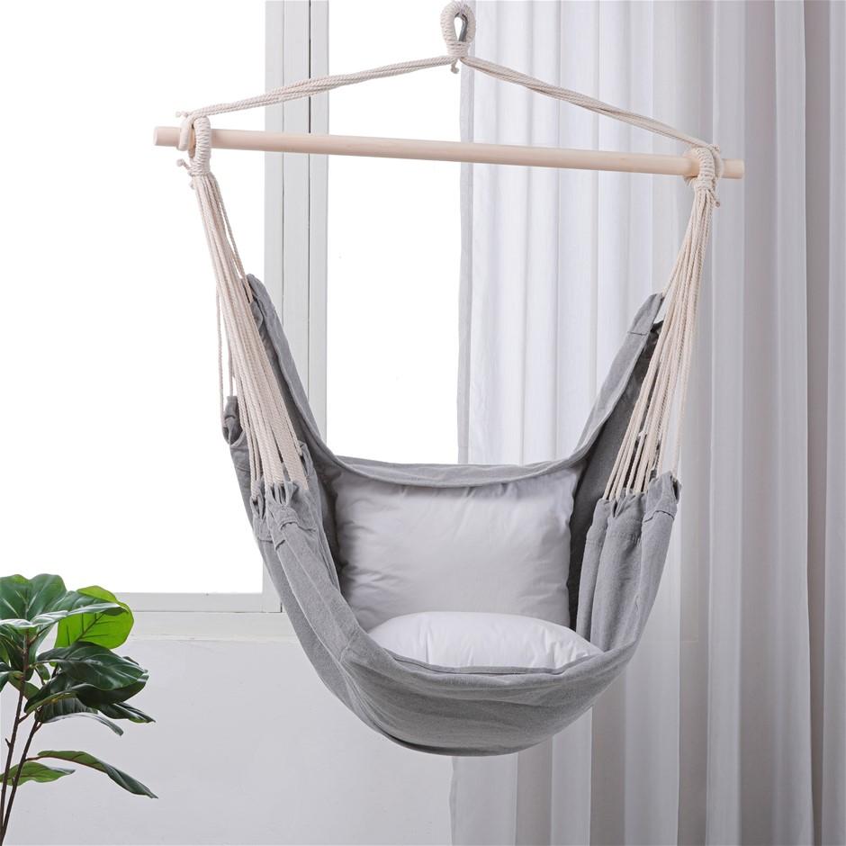 Sherwood Home Indoor and Outdoor Hammock Chair Swing - Grey - Med 100x150cm