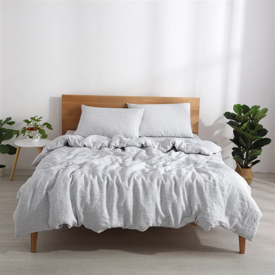 Natural Home Classic Pinstripe Linen Quilt Cover Set Queen Bed White/Navy