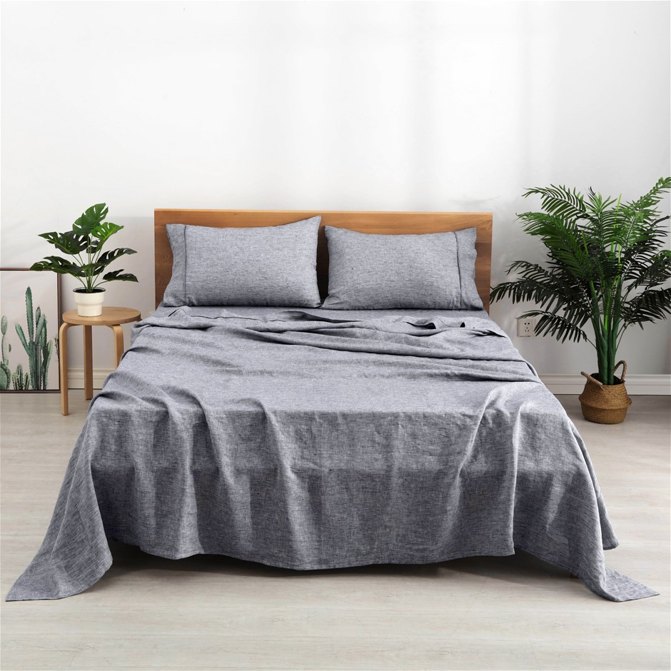 Natural Home Classic Pinstripe Linen Sheet Set Super King Bed Navy/White