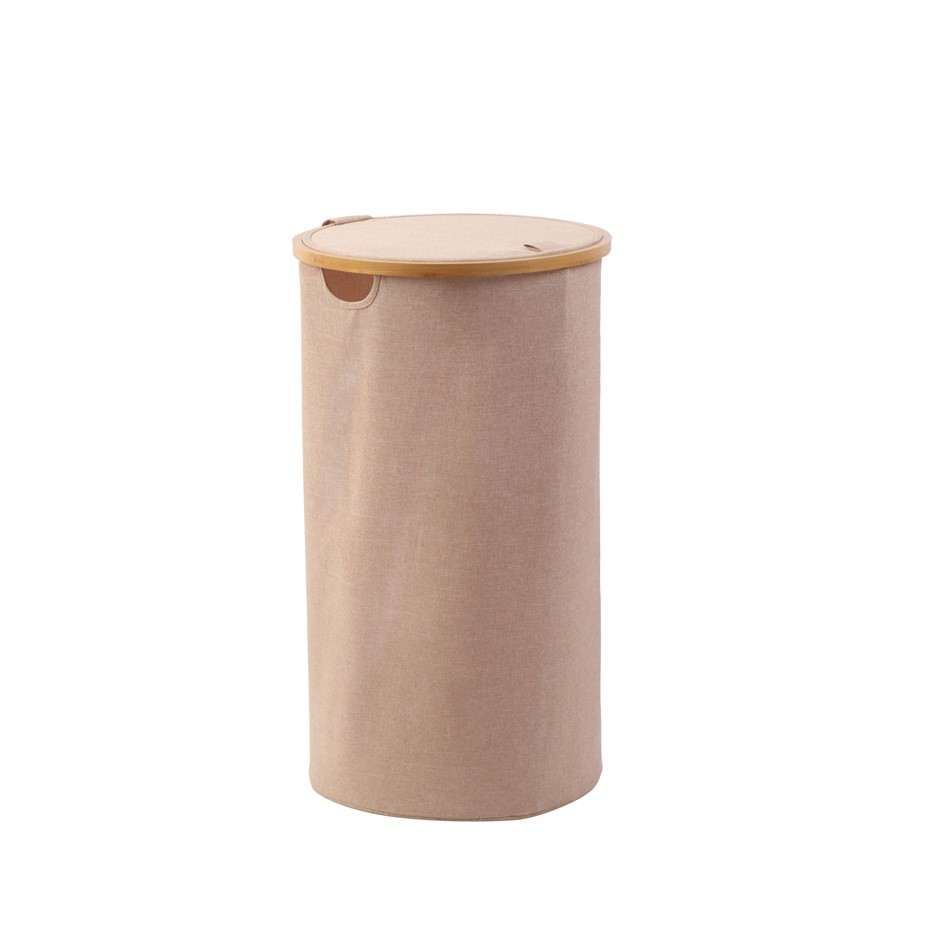 Sherwood Home Tall Round Linen and Bamboo Laundry Hamper - 38x38x67cm