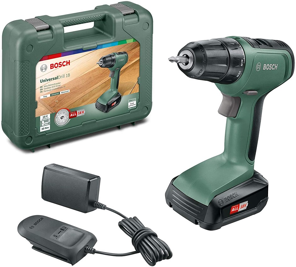 BOSCH 18V Cordless Driver Universal Drill in Case c/w 1.5Ah Battery & Charg