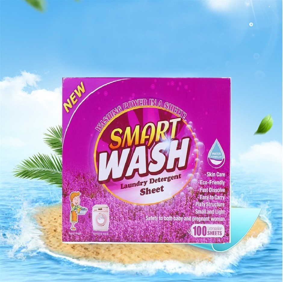 100 sheets Eco-friendly Ultra Portable Laundry Detergent Smart Wash