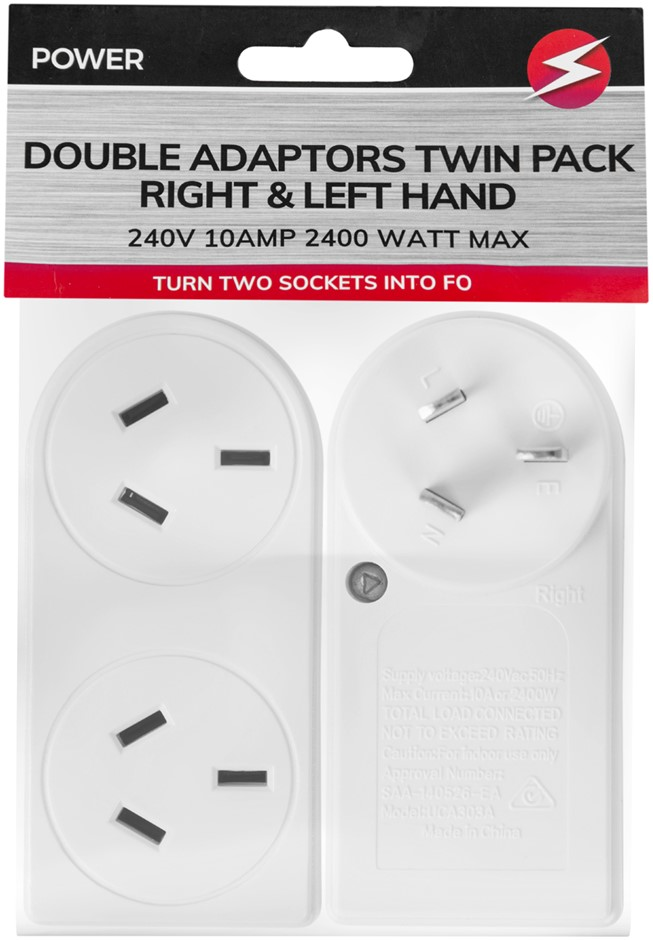 TWIN Pack Double Adapter Right & Left Slimline Fits Side by Side 240V AU