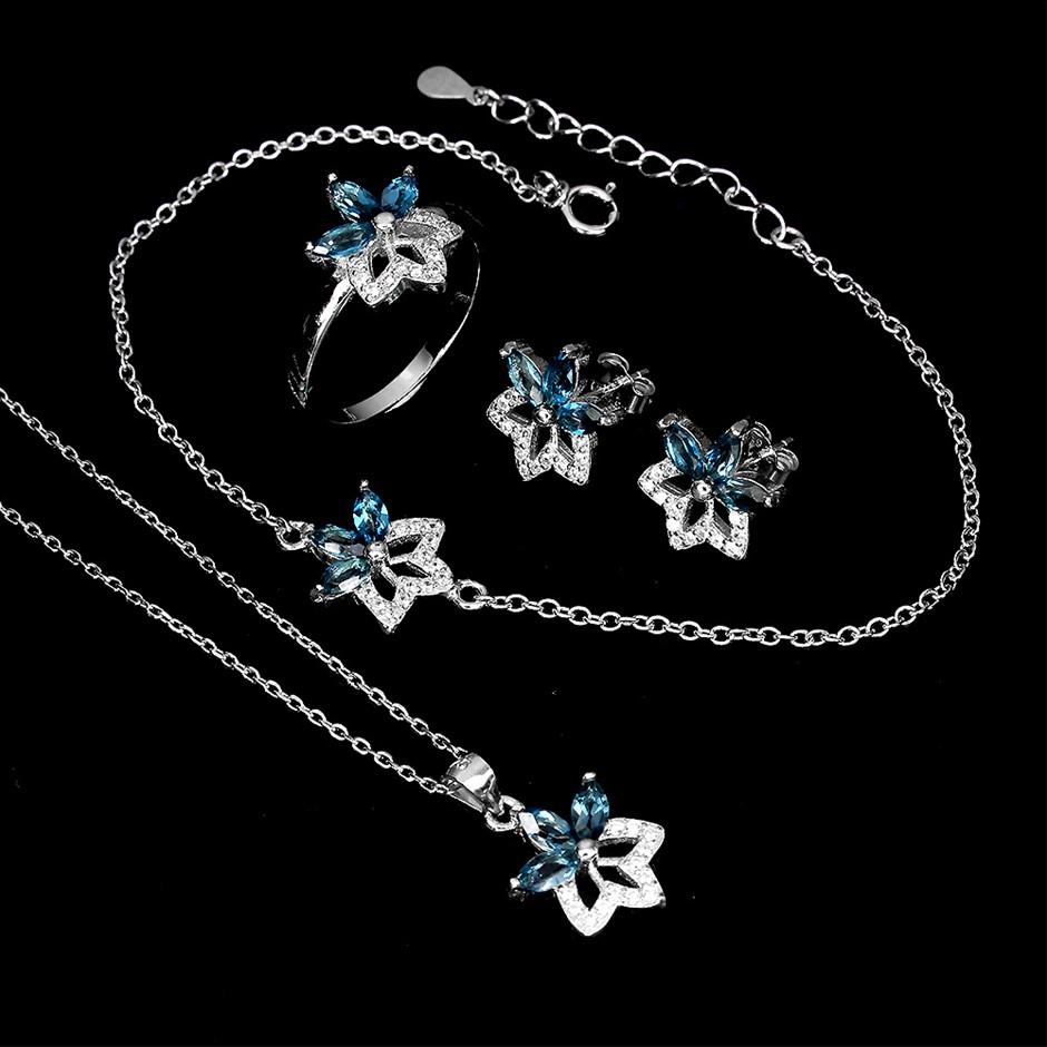Beautiful Genuine London Blue topaz Necklace Earrings Bracelet & Ring Set.