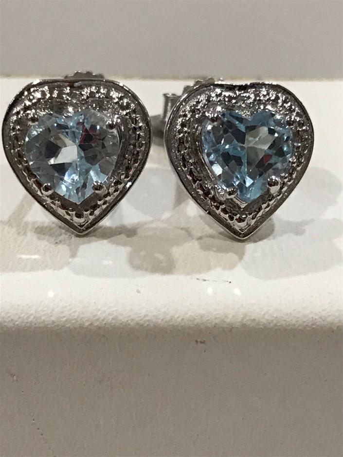 """""""Heart"""" Blue Topaz, Genuine 3.80ct & 18K W/Gold Vermeil Stud Earrings"""