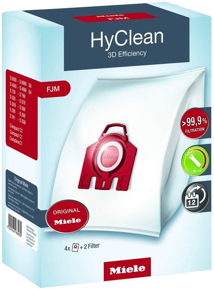 2 x Packs of 4 MIELE HyClean 3D Efficiency Dustbags c/w 2 Filters. N.B. Dam