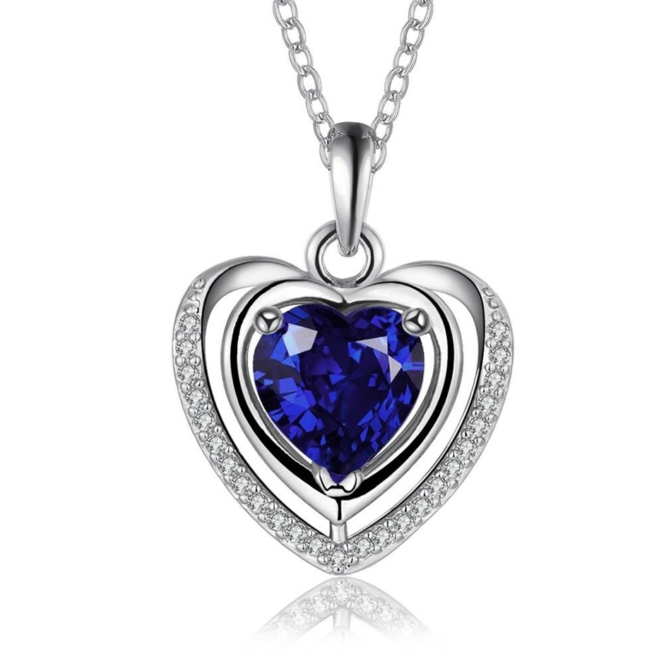 18K White Gold Filled Ocean of Heart Blue Crystals Heart Pendant Necklace
