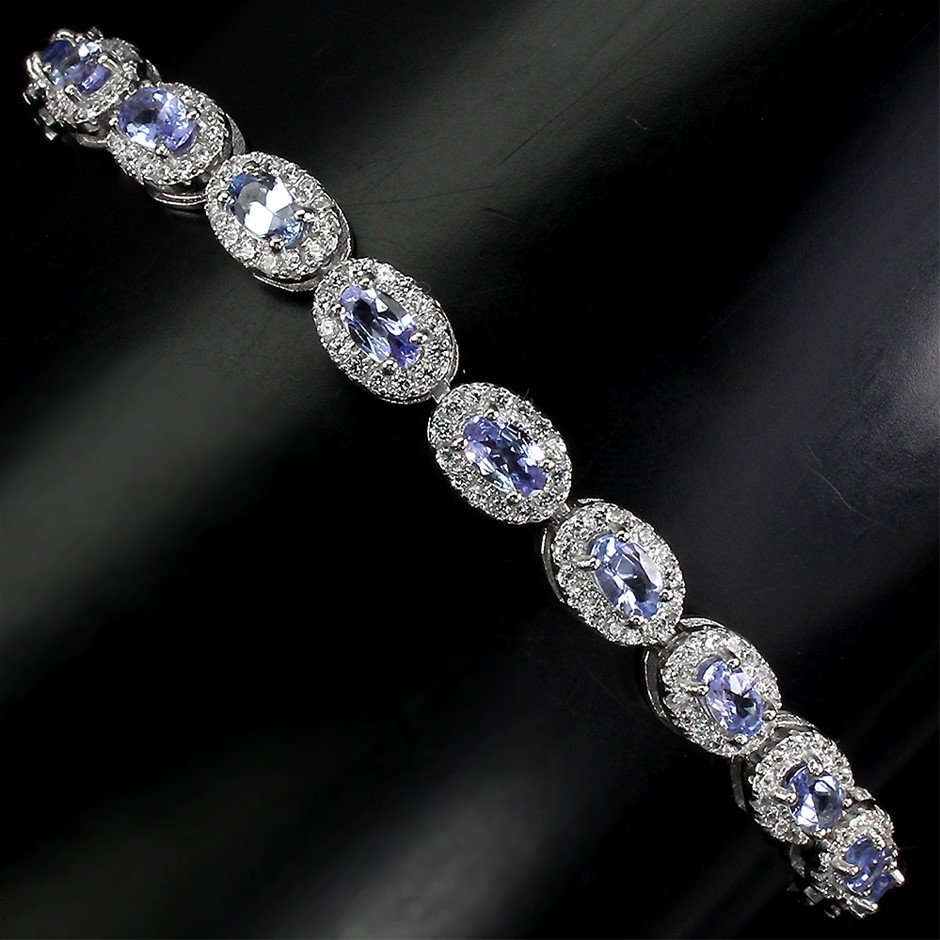 Phenomenal Genuine Tanzanite Tennis Bracelet.