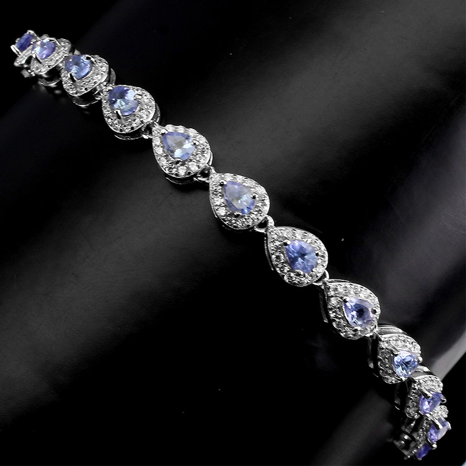Superb Genuine Tanzanite Tennis Bracelet