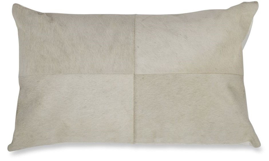Block Cowhide Scatter Cushion, White