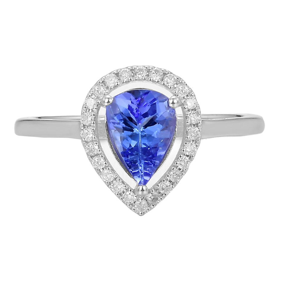 9ct White Gold, 1.07ct Tanzanite and Diamond Ring