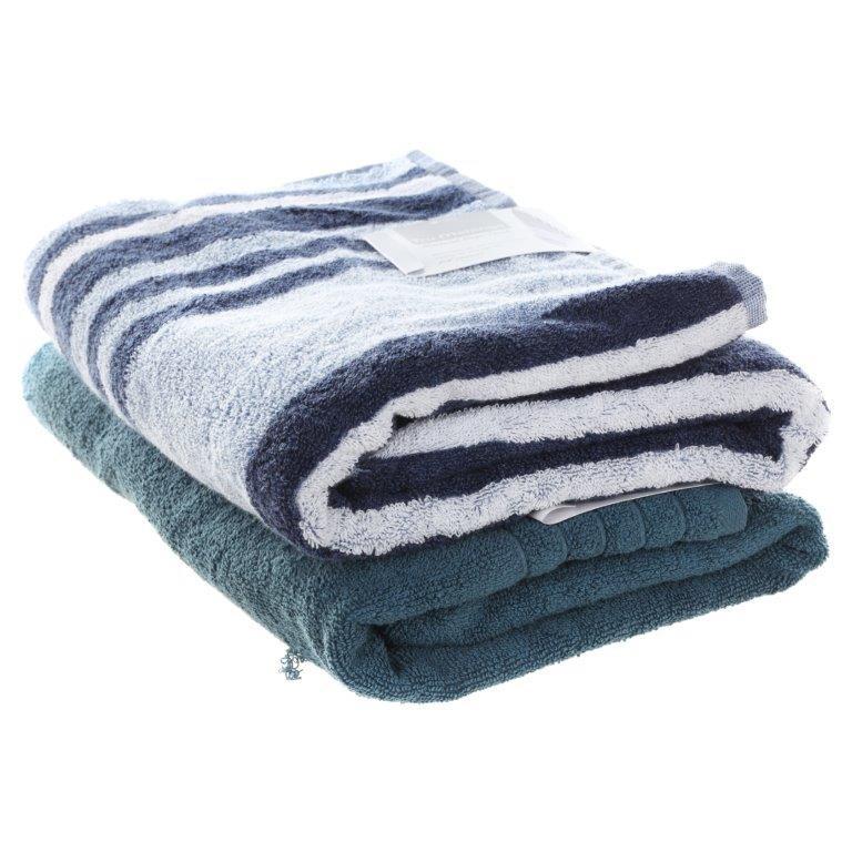 2 x Assorted Bath Towels Comprising SOFT WRAP & TRU MELANGE, 76cm x 147cm.