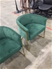 2 x Green Suede Tub Chairs