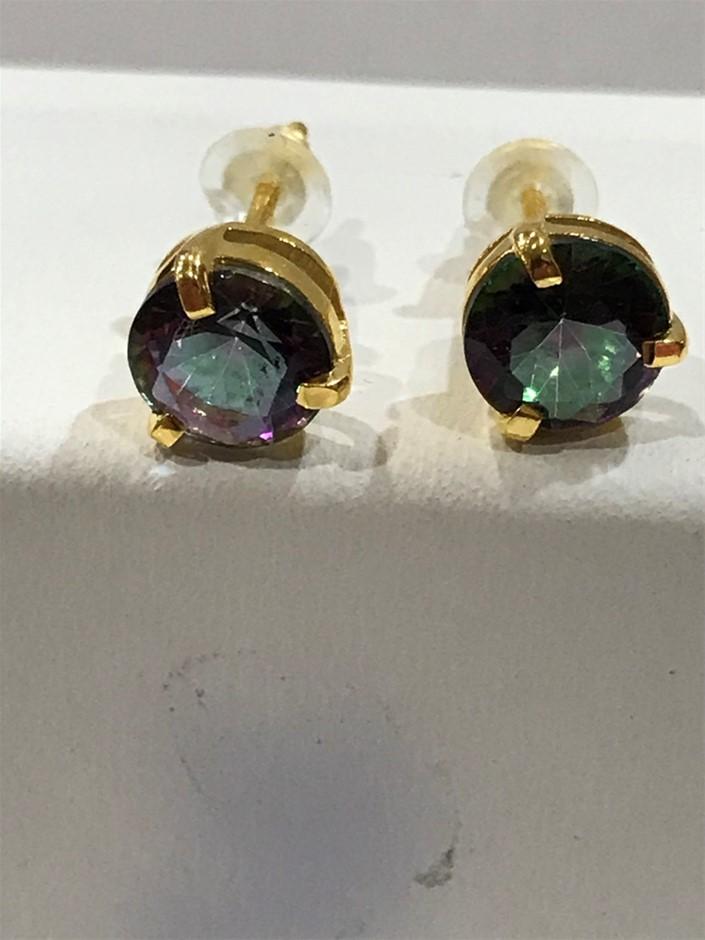 Stunning Mystic Topaz & 18K Y/Gold Vermeil Stud Earrings