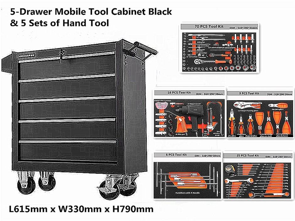 5-Drawer Mobile Tool Cabinet Black & 5 Sets of Hand Tool (70+25+9+6+18 PCS)