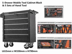 5-Drawer Mobile Tool Cabinet Black & 5 S