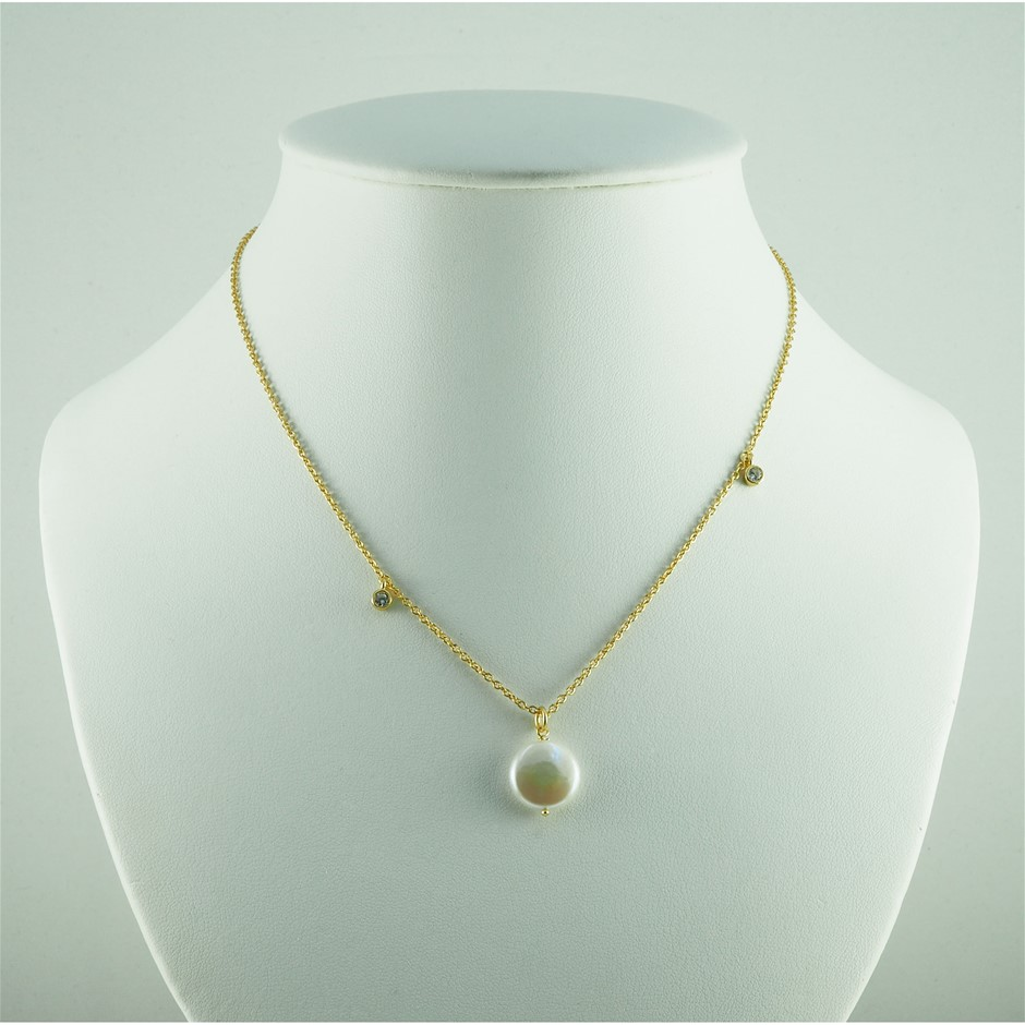 Gold plated Sterling silver freshwater coin pearl and cubic zirconia set