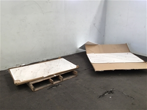 Qty 2 x Marble Table Tops W/ Timber Back