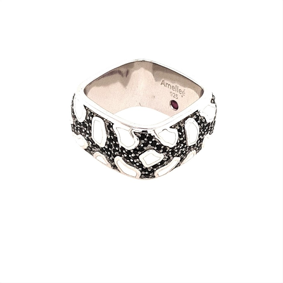 AMELLEE Sterling Silver Black Spinel Pave And White Enamel Glitter Ring.
