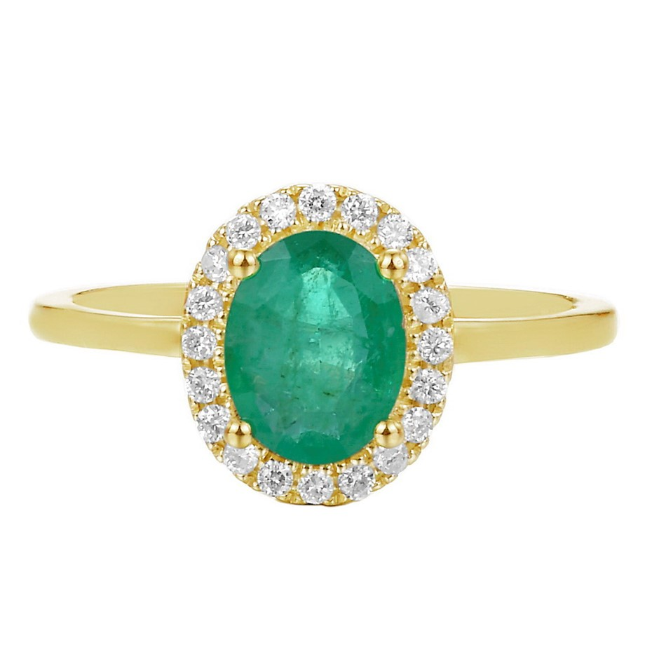 9ct Yellow Gold, 1.06ct Emerald and Diamond Ring
