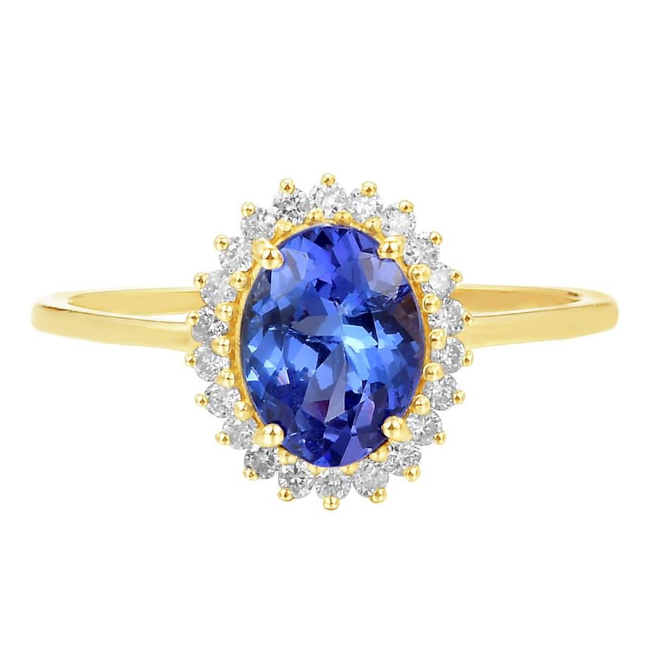 9ct Yellow Gold, 1.32ct Tanzanite and Diamond Ring