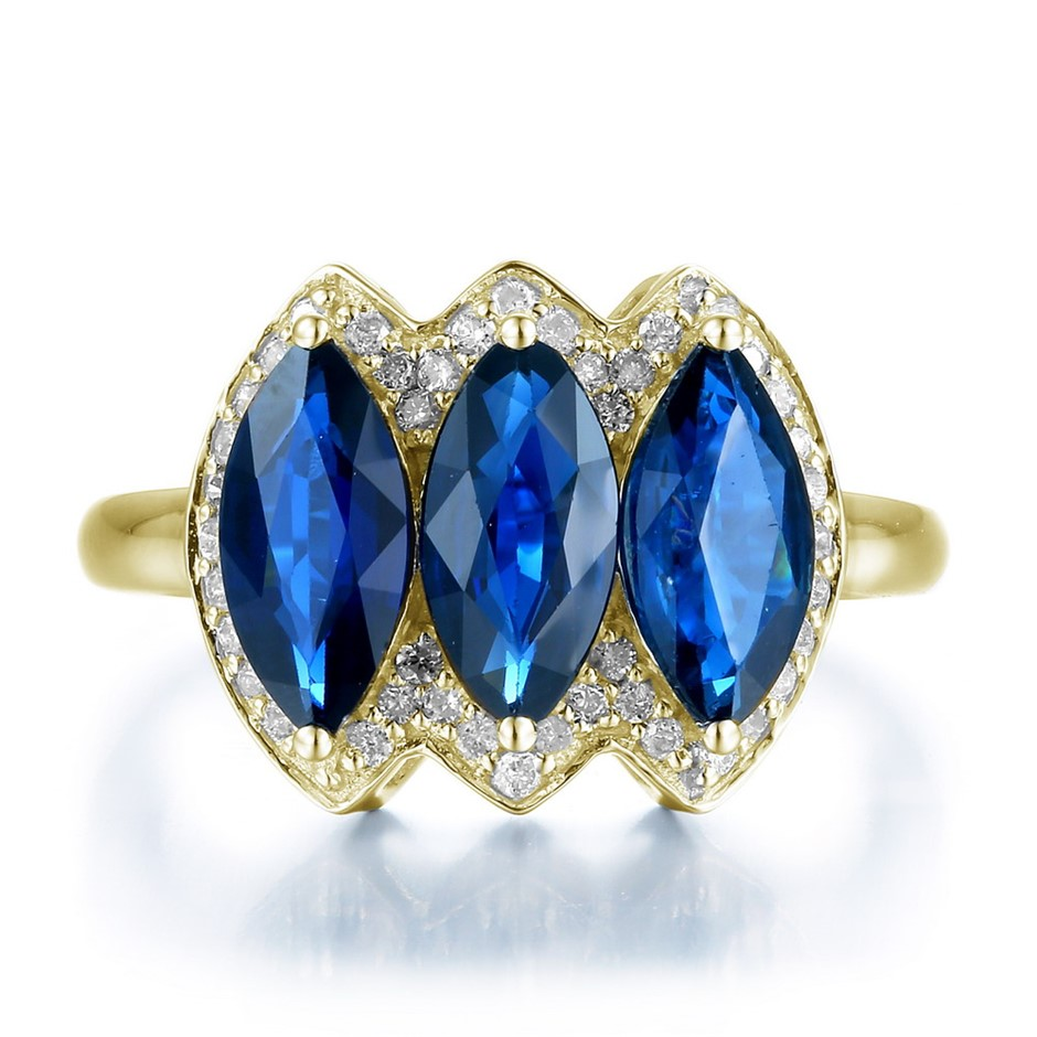 9ct Yellow Gold, 2.20ct Blue Sapphire and Diamond Ring