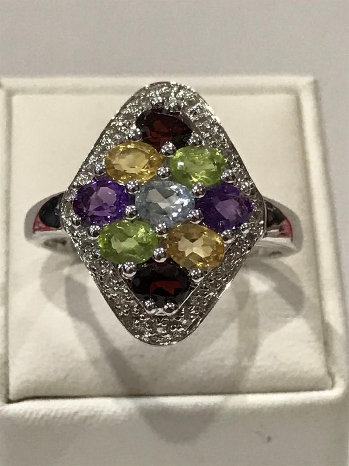 Glorious Multi Stone & White/Gold Vermeil Ring. Size Q (8.25)