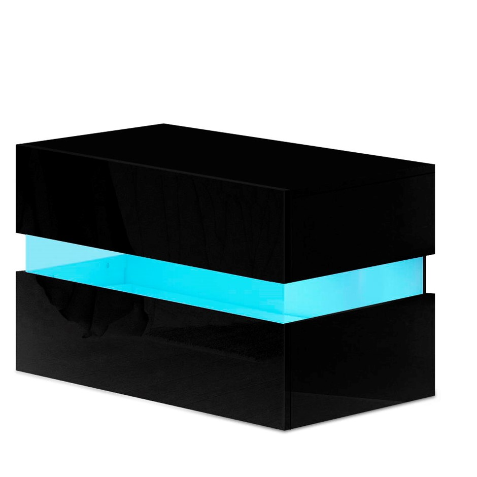 Artiss Bedside Table 2 Drawers RGB LED Side Nightstand High Gloss Black