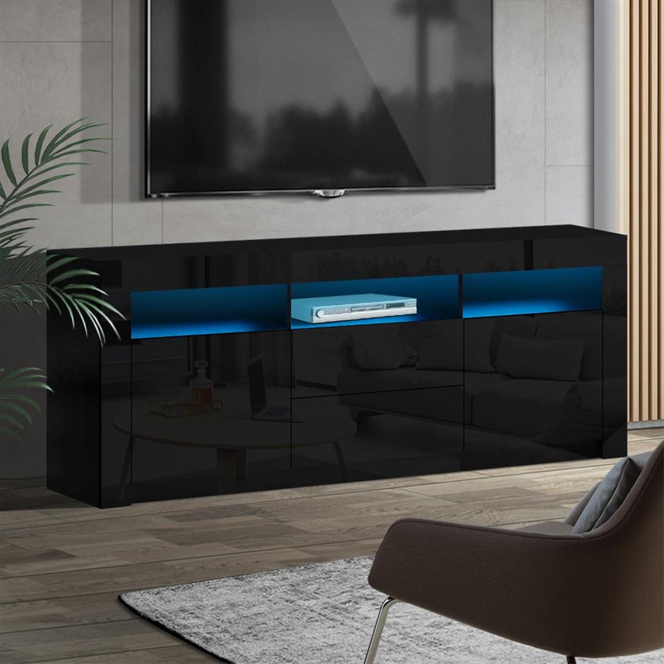 Artiss TV Cabinet Entertainment Unit Stand RGB LED Gloss 160cm Black