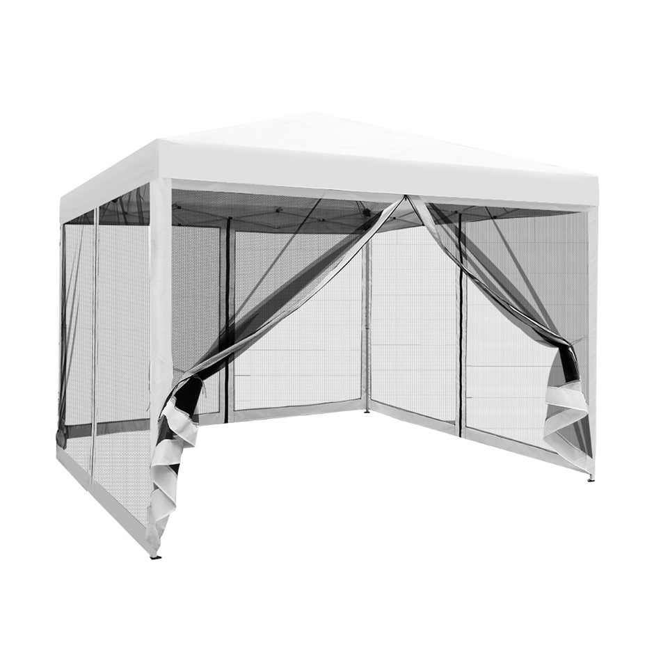 Instahut 3x3m Pop Up Gazebo Wedding Marquee Mesh Walls Outdoor Canopy WH