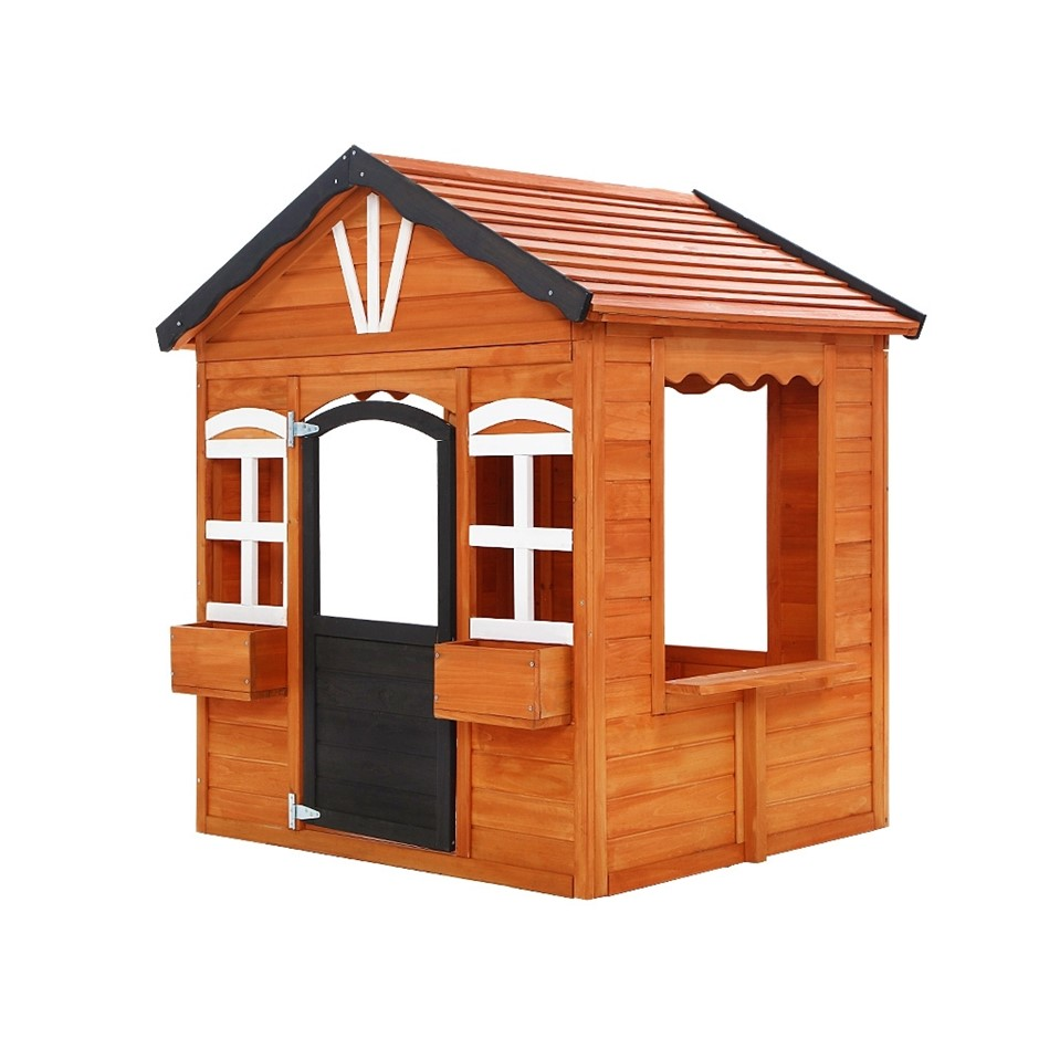 Keezi Kids Cubby House Wooden Outdoor Playhouse Timber Pretend Play