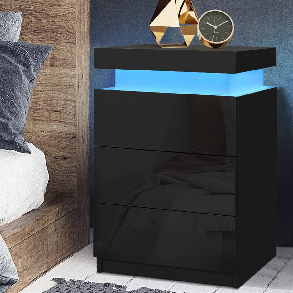 Artiss Bedside Tables Side Table 3 Drawers RGB LED High Gloss Nightstand