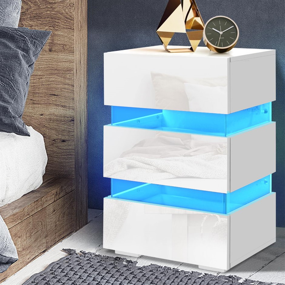 Artiss Bedside Table Side Unit RGB LED Lamp 3 Drawers Nightstand Gloss