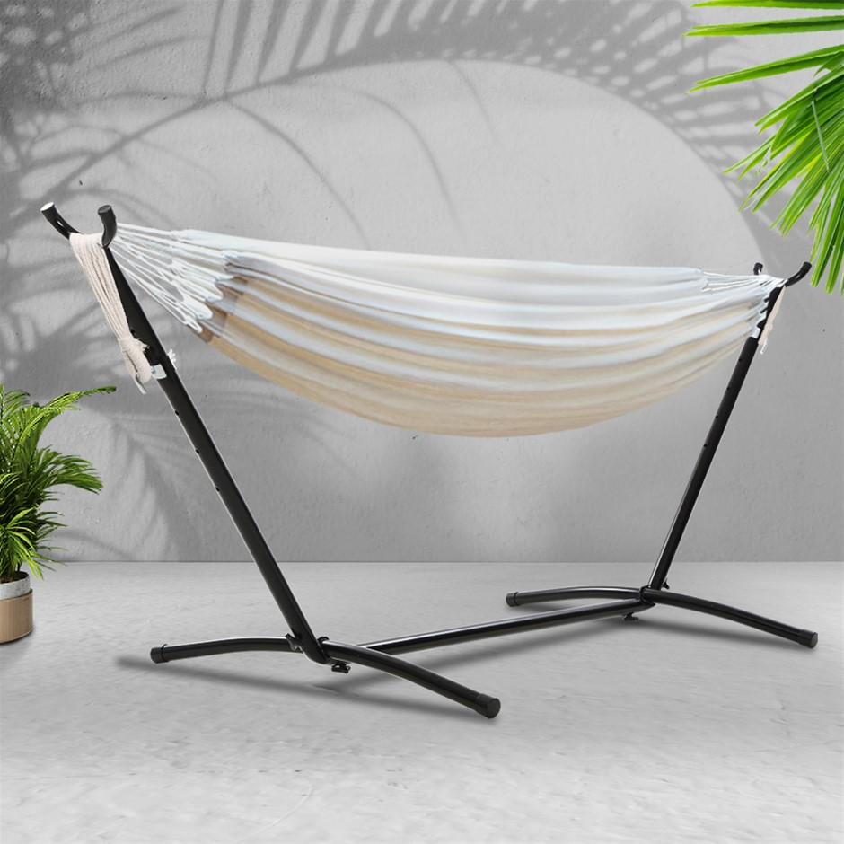 Gardeon Hammock With Stand Cotton Rope Lounge Hammocks Outdoor Swing Bed