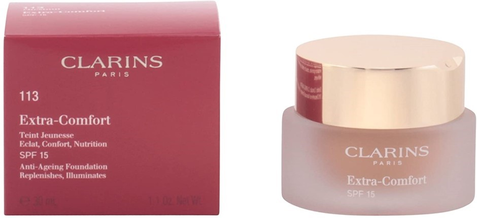 CLARINS SPF15 Extra Comfort, Shade: #113 Chestnut, Size: 30ml. Buyers Note