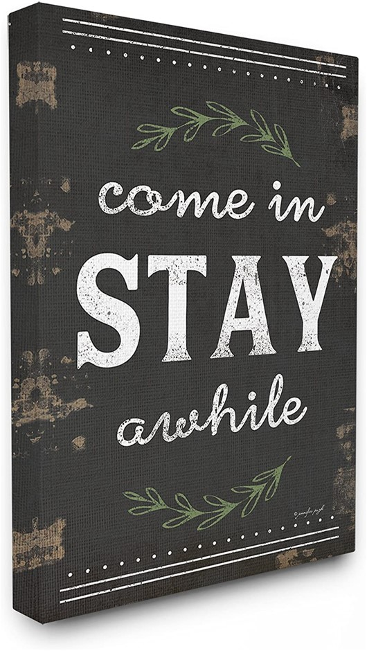 Come Stay Awhile Rosemary Typography Distressed Black XXL Stretched Canvas