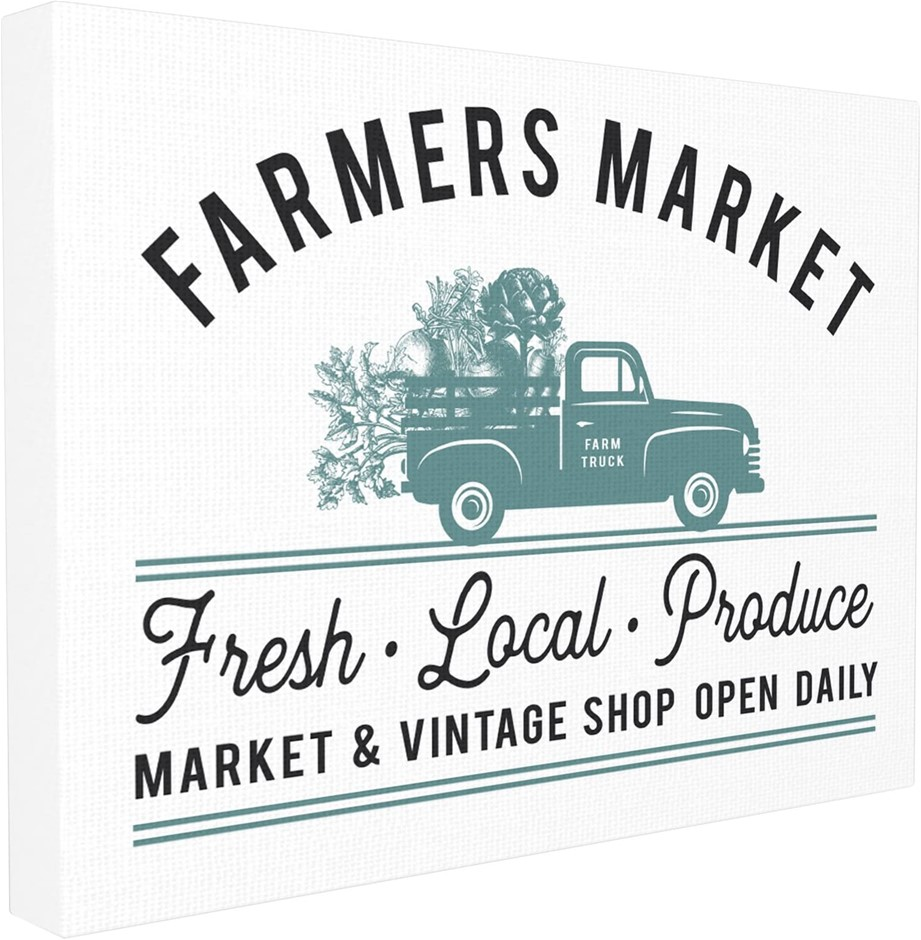 Stupell Industries Farmer's Market Icon Vintage Sign Canvas Wall Art