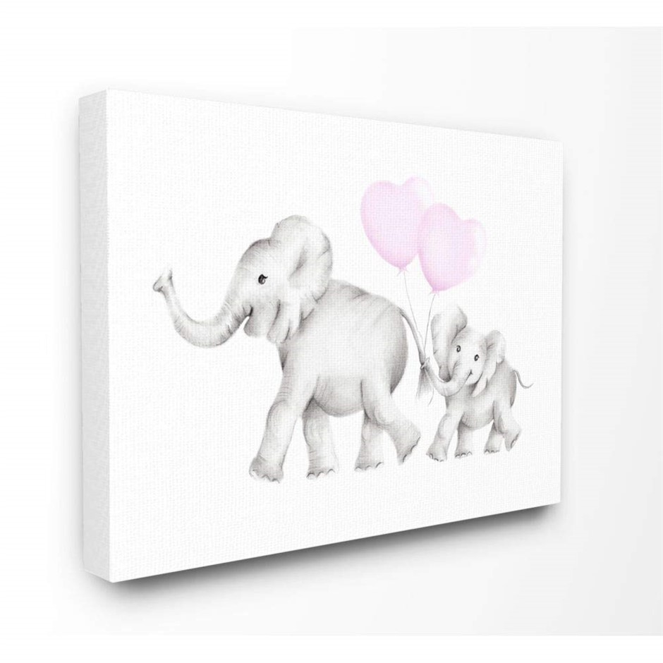 Stupell Industries Mama and Baby Elephants Stretched Canvas Wall Art