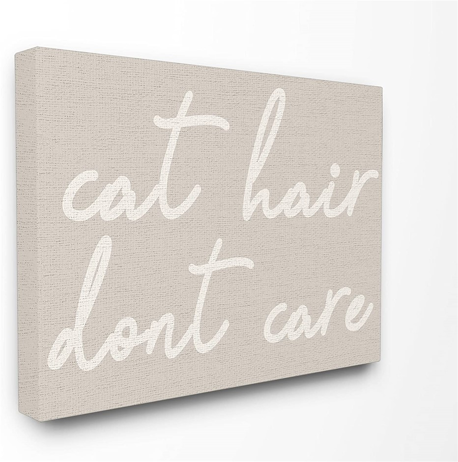 Stupell Industries Cat Hair Don't Care XXL Stretched Canvas Wall Art