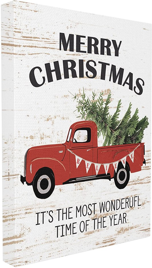 Home Décor Collection Christmas Most Wonderful Time Vintage Truck Wall Art